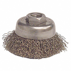 Crimped Cup Brush,3 Dia,0.014 Wire,Steel