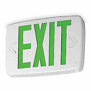 LED Exit Sign, White Housing Color, Thermoplastic Housing Material
