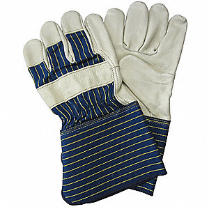 Cowhide Leather Work Gloves, Gauntlet Cuff, Blue/Gold, Size: XL, Left and Right Hand