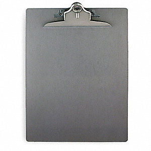 Letter-Size Clipboard with Clamp Clip, Aluminum, Silver