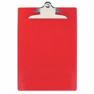 "8-7/8"" x 13-1/4"" Plastic Clipboard with High Capacity Clip, Red"