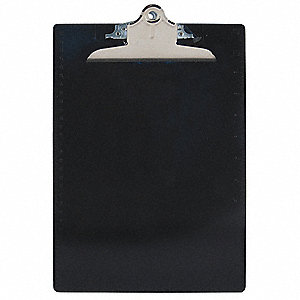 "8-7/8"" x 13-1/4"" Plastic Clipboard with High Capacity Clip, Black"