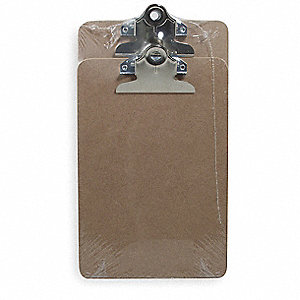 "5-7/8"" x 11"" Hardboard Clipboard with Clamp Clip, Light Brown"