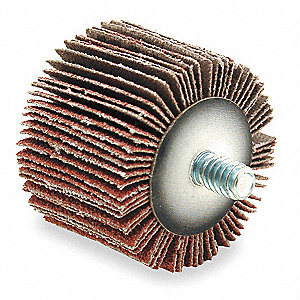 "Coated Aluminum Oxide Mounted Flap Wheel, Threaded Shank Type, 1"" Dia., 5/8"" Face Width,"