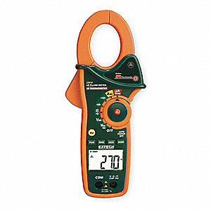 "Clamp On Digital Clamp Meter, -58° to 518°F Temp. Range, 1-3/4"" Jaw Capacity, CAT III 600V"