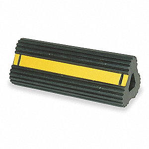 "Black with Yellow Tape Wheel Chock, Rubber, 12"" Width, 6-1/2"" Depth, 6"" Height"