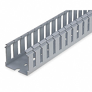 "Wiring Duct, Gray, 6 ft. Length, 2.25"" Width, 0.30"" Slot Width"