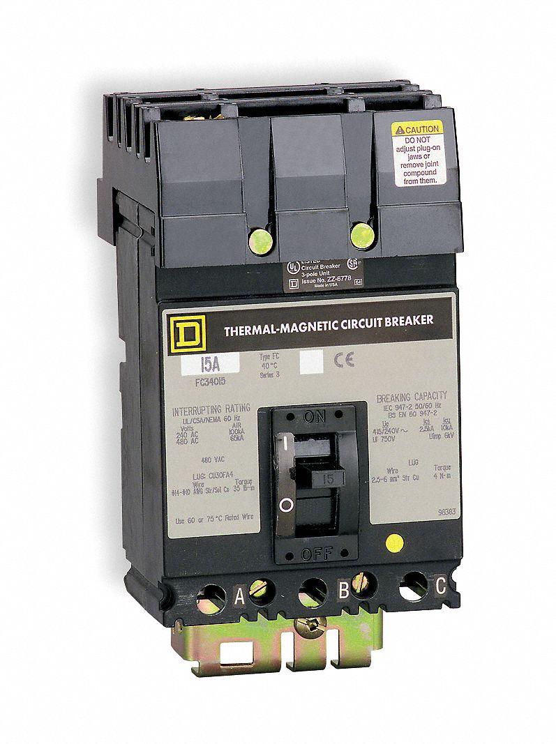 SQUARE D Circuit Breaker, 20 Amps, Number of Poles: 3, 600VAC AC ...