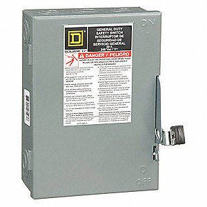 Safety Switch, 1 NEMA Enclosure Type, 30 Amps AC, 7-1/2 HP @ 240 VAC HP