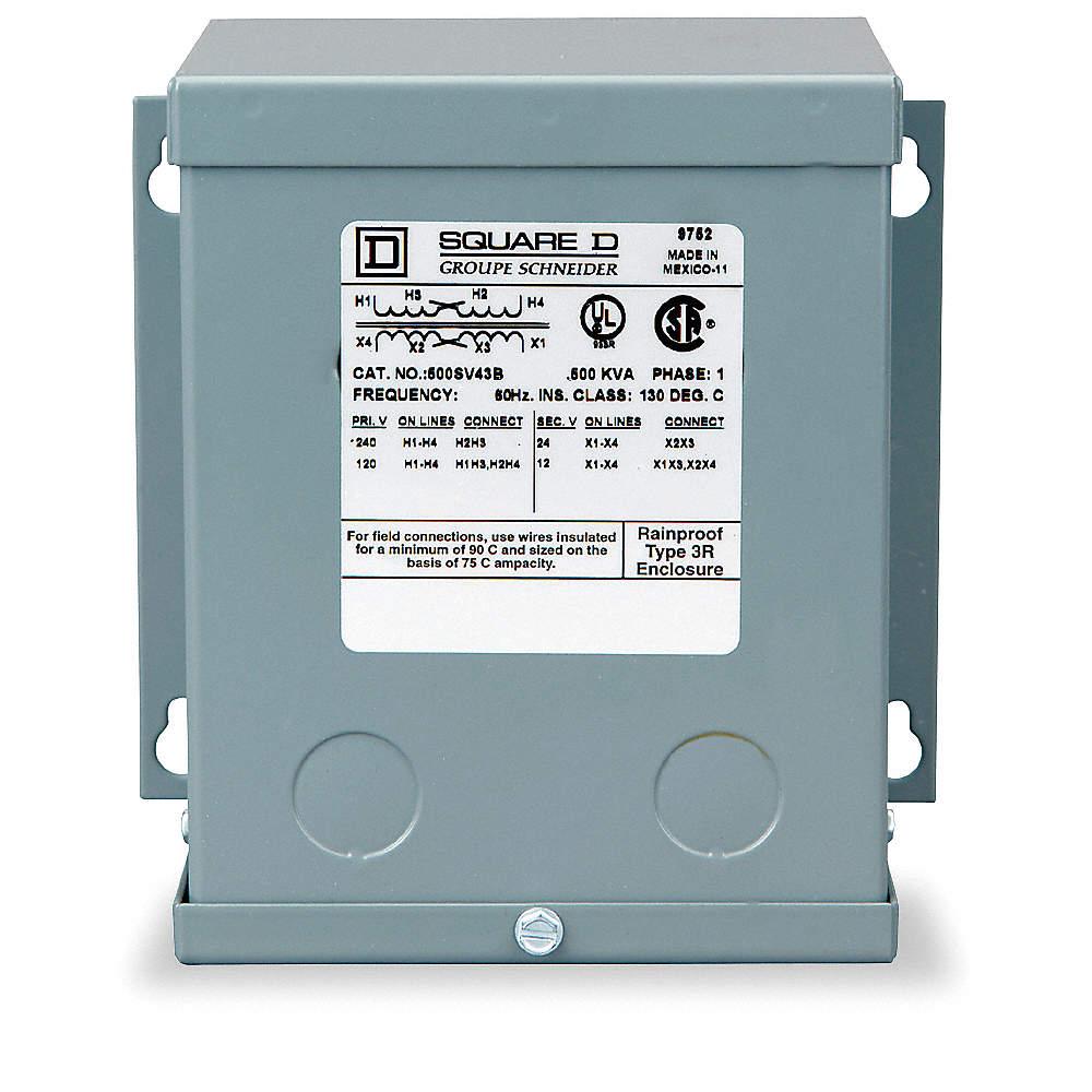 SQUARE D 500VA Buck Boost Transformer, Input Voltage: 120VAC, 240VAC ...