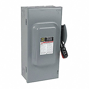 Safety Switch, 1 NEMA Enclosure Type, 100 Amps AC, 60 HP @ 600VAC HP