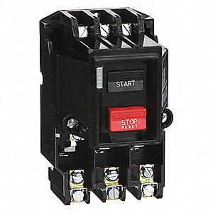 Push Button Manual Motor Starter, Enclosure NEMA Rating No Enclosure, 27  Amps AC, NEMA Size:M-0