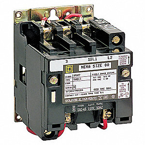 240VAC NEMA Magnetic Contactor&#x3b; No. of Poles: 2, Reversing: No, 45 Full Load Amps
