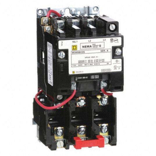 magnetic motor starter 120v ac coil volts nema size 0 starter type nema
