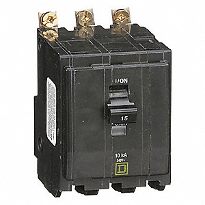 Bolt On Circuit Breaker, 15 Amps, Number of Poles:  3, 240VAC AC Voltage Rating