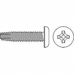 "1/2"" Hardened Steel Thread Cutting Screw with Pan Head Type; PK100"
