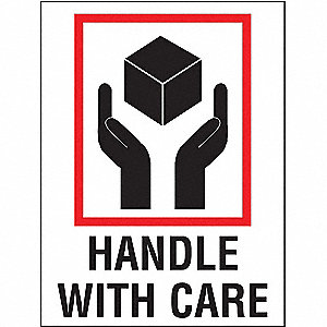 "Shipping Labels, Handle with Care Legend, Paper, Adhesive Back, 3"" Width, 4"" Height"