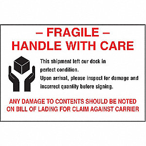 "Shipping Labels, Fragile, with Disclaimer Legend, Paper, Adhesive Back, 6"" Width, 4"" Height"