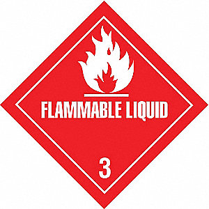 "Shipping Labels, Flammable Liquid Legend, Paper, Adhesive Back, 4"" Width, 4"" Height"