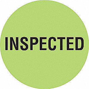 "Inventory Control Label,  Inspected,  Green,  2"" Height,  2"" Width,  Paper,  PK 1000"
