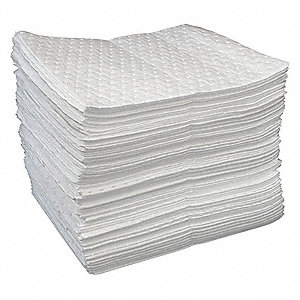 "19"" x 15"" Medium Absorbent Pad for Oil Only / Petroleum, White&#x3b; PK100"