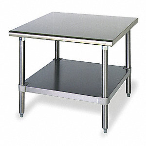 "Worktable, 30"" Width, Stainless Steel, 600 lb. Load Rating"