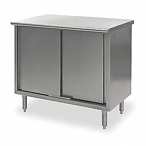 "Enclosed Worktable, 48"" Width, 30"" Depth  Stainless Steel Work Surface Material"