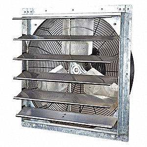"24"" Shutter Mount Exhaust Fan, Voltage 115V, Motor HP 1/3"