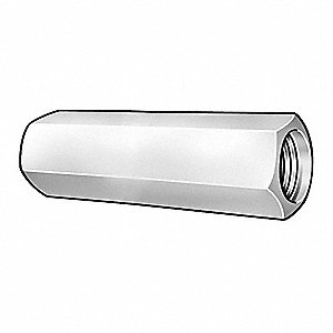 "7/16""-20 Coupling Nut, Plain Finish, Stainless Steel 18-8, Right Hand, 1-1/4""L, PK5"