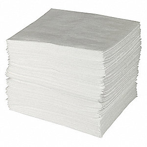 "19"" x 15"" Heavy Absorbent Pad for Oil Only / Petroleum, White&#x3b; PK100"