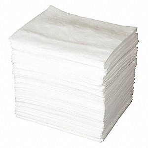 "19"" x 15"" Light Absorbent Pad for Oil Only / Petroleum, White&#x3b; PK200"