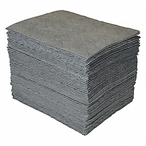 "19"" x 15"" Heavy Absorbent Pad for Universal / Maintenance, Gray&#x3b; PK100"