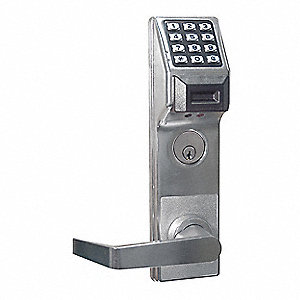 Electronic Keyless Lock, Entry with Key Override, Satin Chrome, Series PDL3000