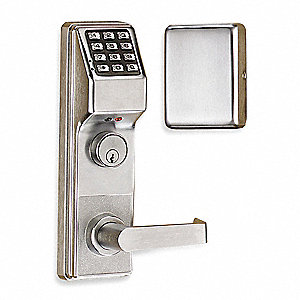 Electronic Keyless Exit Trim Lock, Entry with Key Override, Satin Chrome, Series ETDL