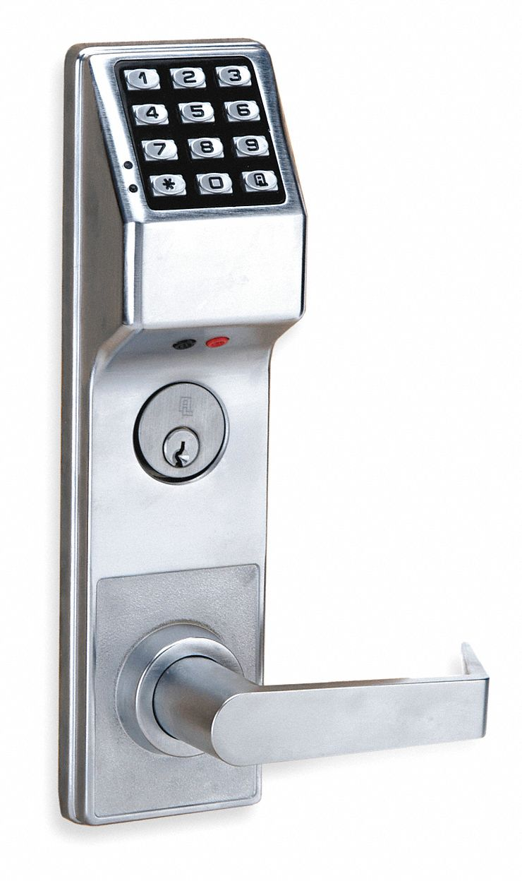 Electronic Keyless Lock, 2-3/4 in Backset, Mortise, Satin Chrome, 1/2 in Latch Length
