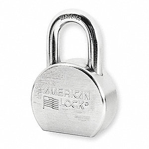 "Different-Keyed Padlock, Open Shackle Type, 1-1/16"" Shackle Height, Silver"