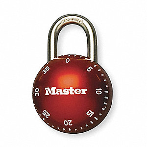 Combination Padlock,Center,Red