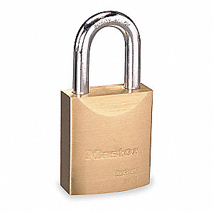 "Keyed Padlock, Open Shackle Type, 1-1/2"" Shackle Height, Brass"