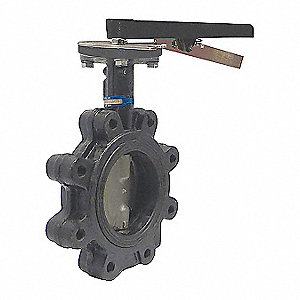"Lug-Style Butterfly Valve, Cast Iron, 200 psi, 6"" Pipe Size"