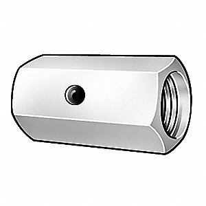 "1/4""-20 Coupling Nut, Zinc Chromate Finish, Steel, Right Hand, 3/4""L, PK5"