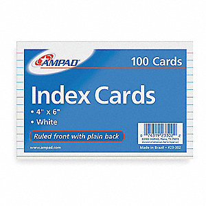 "4"" x 6"" Index Cards, Ruled"