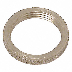 "1/8""-27 Round Panel Nut, Plain Finish, Brass, NPS Threads, PK2"