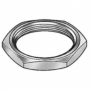 "3/8""-32 Hex Panel Nut, Plain Finish, Nylon, NEF Threads, PK2"