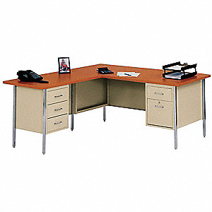 L-Shape Desk,42 x 29 x 66 In,Putty