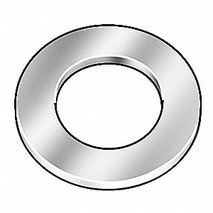 "#1x5/32"" O.D., Flat Washer, Steel, Low Carbon, Zinc Plated, PK50"