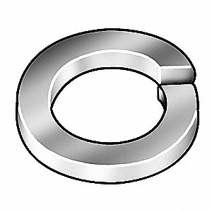Split Lock Washer, Bolt 3/8, Steel, PK100