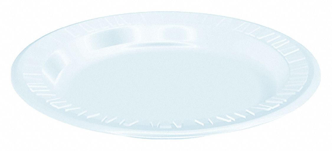 Luncheon Plate,  Foam,  9 in,  Round,  White,  PK 500