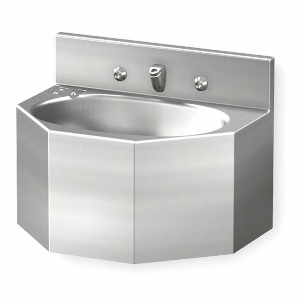 Acorn Stainless Steel Wall Penal Bathroom Sink With Faucet