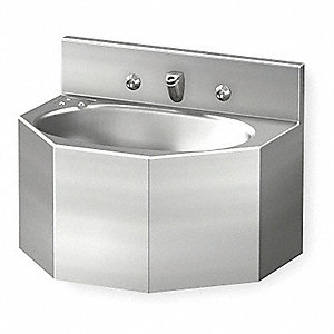 "Stainless Steel Wall Penal Bathroom Sink With Faucet, 9-1/2"" x 14-3/4"" Bowl Size"