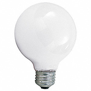 40 Watts Incandescent Lamp, G25, Medium Screw (E26), 370 Lumens, 2500K Bulb Color Temp.